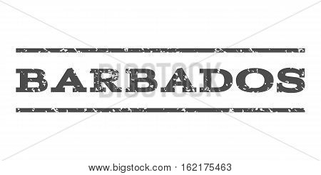 Barbados watermark stamp. Text caption between horizontal parallel lines with grunge design style. Rubber seal stamp with scratched texture. Vector gray color ink imprint on a white background.
