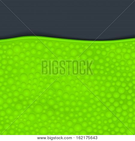 illustration of green color slime with bubbles on dark background