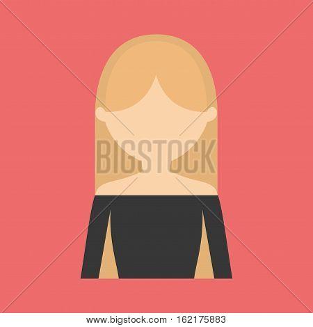 woman with shoulder  less blouse portrait icon image vector illustration design