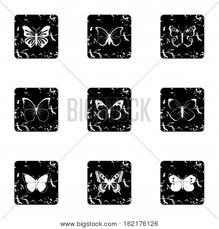 Creatures butterflies icons set. Grunge illustration of 9 creatures butterflies vector icons for web