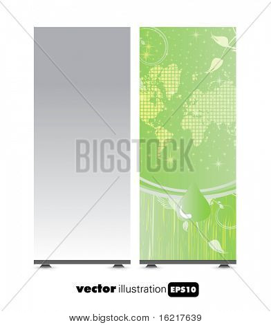 Roll-up with ecology background ready for use. Vector illustration.