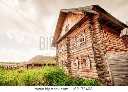 Large wooden house from a frame type Slavic in the village
