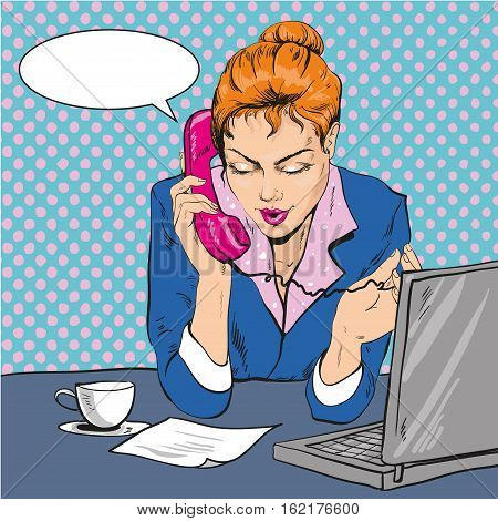 Vector Illustration of woman talking over the phone at office in retro pop art comic style. Speech bubble.