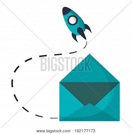 email envelope open rocket startup vector illustration eps 10