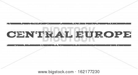 Central Europe watermark stamp. Text caption between horizontal parallel lines with grunge design style. Rubber seal stamp with unclean texture. Vector gray color ink imprint on a white background.