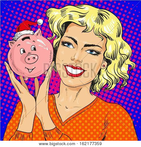 Vector illustration of happy young woman holding piggy bank in christmas hat, retro pop art comic style.
