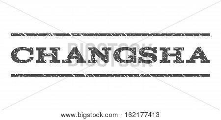 Changsha watermark stamp. Text tag between horizontal parallel lines with grunge design style. Rubber seal stamp with unclean texture. Vector gray color ink imprint on a white background.