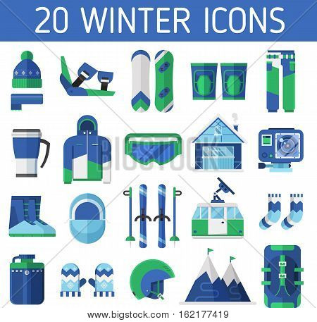 Ski resort icons. Winter sports and activity set. Mountain ski and snowboard equipment vector collection. Winter active lifestyle element with skiing and snowboarding gear and essentials.