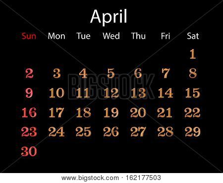 April Calendar 2017. Number Made From Wood