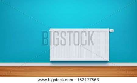 illustration of white color heating radiator on blue wall with shadow