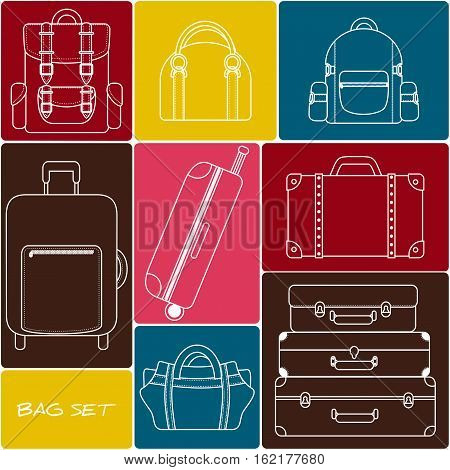 Travel bag and backpack set.  Vector bag icons