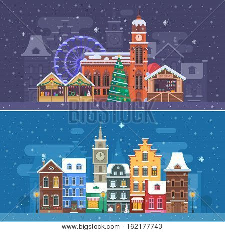 Snow city landscapes with winter Europe town and christmas market. Winter fair festival banner with cathedral building and New Year stalls. Snowy street with colorful houses on snowfall background.