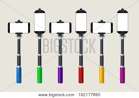 illustration of set of different color monopod with smartphone isolated on bright background