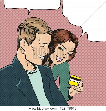 Vector illustration of smiling couple in retro pop art comic style. Woman holding credit card and showing it to her companion. Speech bubbles.