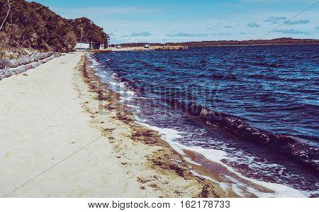 Coalmine Beach Walpole Australia . vintage toning filter add .