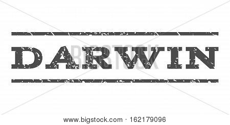 Darwin watermark stamp. Text caption between horizontal parallel lines with grunge design style. Rubber seal stamp with unclean texture. Vector gray color ink imprint on a white background.