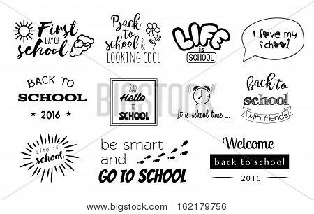 Vector School Stickers with elements of calligraphy. Design writing back to school. Vector lettering with graphic elements. Web design, poster, banner, print object