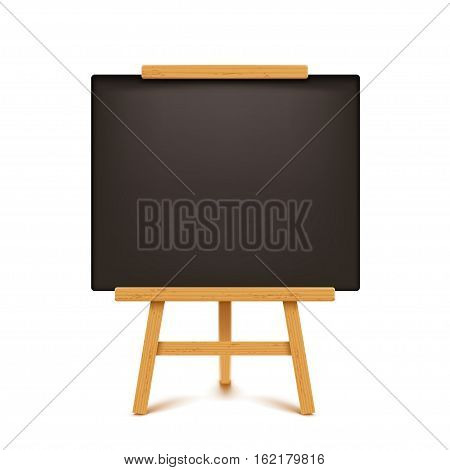 illustration of wooden with black color paper flip chart on white background