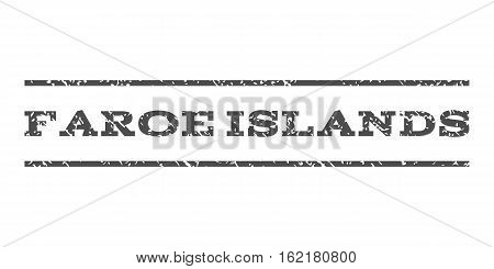 Faroe Islands watermark stamp. Text tag between horizontal parallel lines with grunge design style. Rubber seal stamp with unclean texture. Vector gray color ink imprint on a white background.