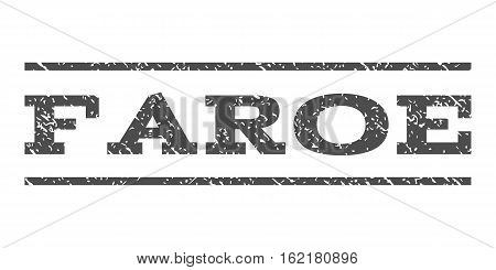 Faroe watermark stamp. Text tag between horizontal parallel lines with grunge design style. Rubber seal stamp with dirty texture. Vector gray color ink imprint on a white background.