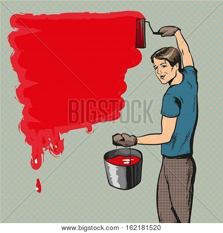 Vector illustration of house painter with paint roller and bucket of paint in retro pop art comic style. Profession of wall and brush painter concept.