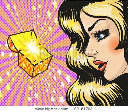 Vector illustration of beautiful young woman looking at gift, jewelry box in retro pop art comic style. She is delighted.