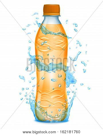 Water Splashes In Light Blue Colors Around A Plastic Bottle With Orange Juice