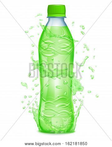 Water Splashes In Green Colors Around A Plastic Bottle With Green Juice