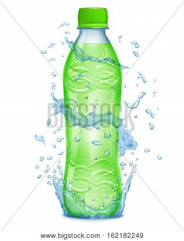 Water Splashes In Blue Colors Around A Plastic Bottle With Green Juice