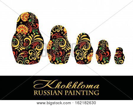 Vector Russian Ethnic matrioshka .Khokhloma painting , decoration objects in Russian style, Elements for poster, banner, print, logo, advertisement design.