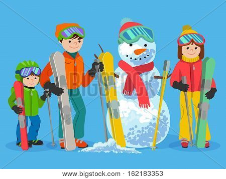 Family portrait of father, mother and daughter and snowman cartoon vector illustration on blue background. Happy skiers winter sport concept. People with ski equipment in winter clothes.