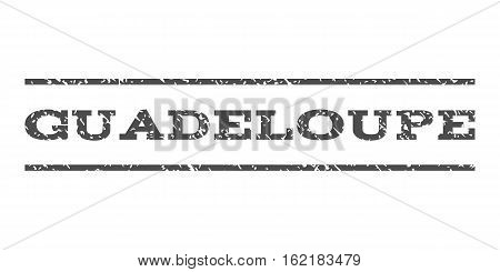 Guadeloupe watermark stamp. Text tag between horizontal parallel lines with grunge design style. Rubber seal stamp with scratched texture. Vector gray color ink imprint on a white background.