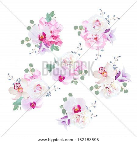 Small wedding bouquets in purple pink and white tones. Peony violet bellflower hydrangea campanula orchid eucalyptus blue berries and satin bows. All elements are isolated and editable.