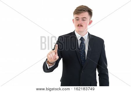 Businessman In Formal Wear Pushing Forefinger Screen On White Background