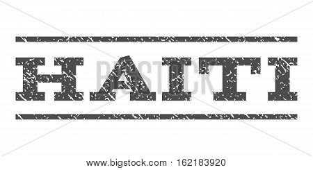 Haiti watermark stamp. Text tag between horizontal parallel lines with grunge design style. Rubber seal stamp with scratched texture. Vector gray color ink imprint on a white background.