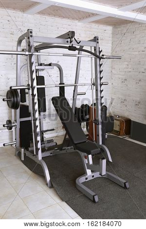 Trainer and sport equipment in room