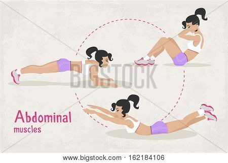 Vector Set of fitness workout exercises for a woman, abdominal muscles workout exercises for a girl. illustration of realistic woman in sport gym. Web design, poster, banner, print element.