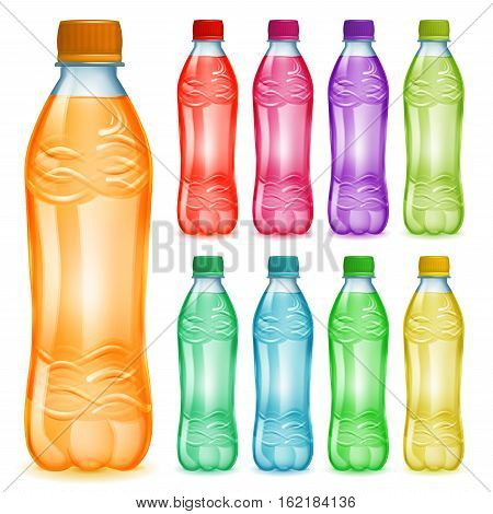 Set Of Plastic Bottles With Multicolored Juices