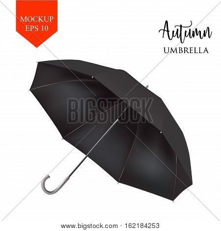Vector Blank Classic Opened Round Rain Umbrella , Parasol Sunshade. Mock up Close up Isolated on White Background. Front Side View, Black illustration image for advertising, poster, banner, print design