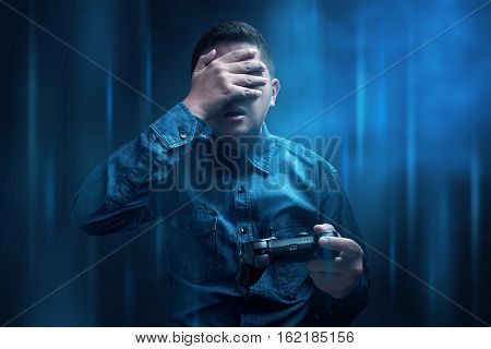 Young man losing after playing video game