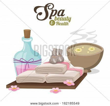 spa beauty and health with water bowl flower compress and towels vector illustration eps 10