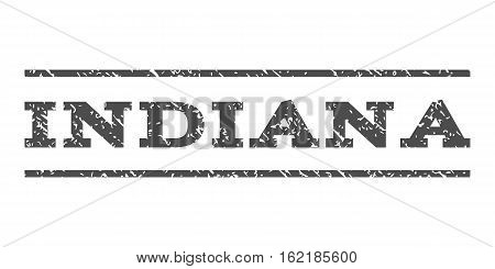 Indiana watermark stamp. Text caption between horizontal parallel lines with grunge design style. Rubber seal stamp with scratched texture. Vector gray color ink imprint on a white background.