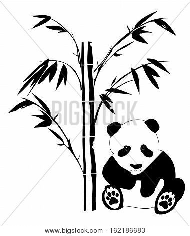 vector illustration of a panda bear silhouette and bamboo plant
