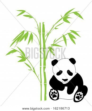 vector illustration of a panda bear with bamboo