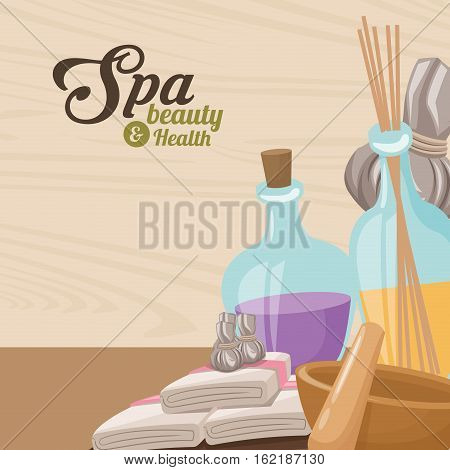 spa beauty and health towel aroma therapy herbal vector illustration eps 10
