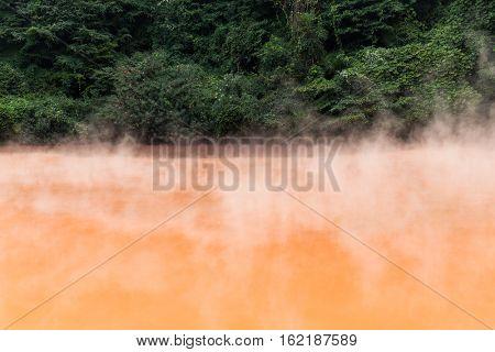 Blood Hell Hot Springs in Japan