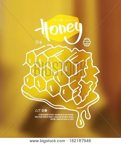 Stock vector illustration of honeycomb. Print on blurred background