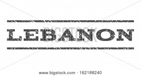 Lebanon watermark stamp. Text tag between horizontal parallel lines with grunge design style. Rubber seal stamp with unclean texture. Vector gray color ink imprint on a white background.