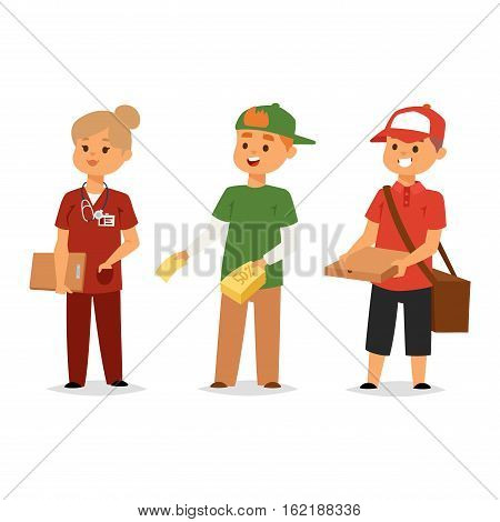 Cool courier characters workers people with equipment with container. Couriers characters cart with cardboard boxes delivery. Shipping logistics service and volunteer industry vector.