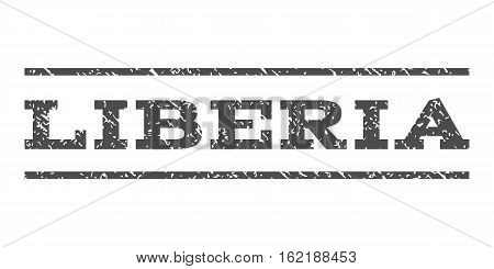 Liberia watermark stamp. Text caption between horizontal parallel lines with grunge design style. Rubber seal stamp with scratched texture. Vector gray color ink imprint on a white background.